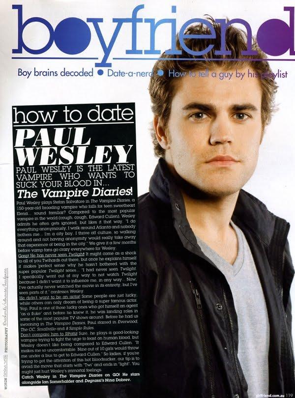 Wesley girlfriend paul Paul Wesley