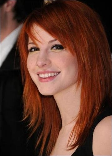 hayley williams hairstyle with bangs. hayley williams red hair