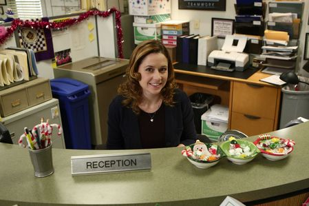 Who has NEVER sat in Pam's chair at reception?