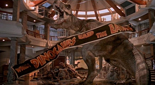 "T/F: The original ending of Jurassic Park (the movie) included the ""real"" T-Rex (pictured below)."
