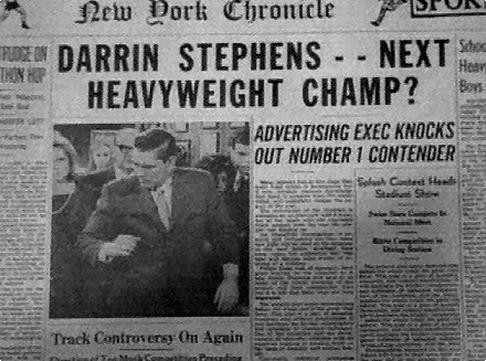 Darrin makes the headlines when he knocks out a heavy weight (really Samantha's doing)...