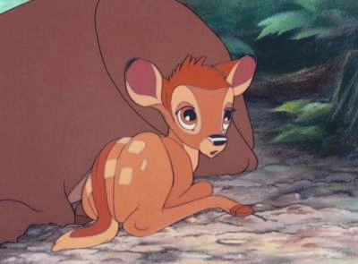 FROM 'BAMBI': What is Bambi's first word?