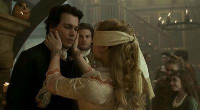 When Katrina Van tassel had the blind fold on, who did she think Ichabod was?