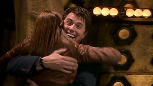 "In ""Journey's End"" which character did Donna push out of the way so she could hug Jack?"