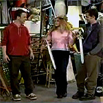 While cleaning out the Matthews' garage in 'Brotherly Shove', Queen Topanga demanded a duel.  Who fought in this duel?