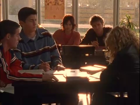 s1, While Luke was staring at Peyton in the library, he was sitting with Haley?