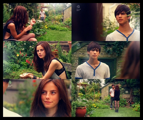 skins - What reason does Effy give Freddie for being in his garden?