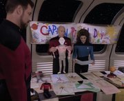 """In what episode do we see entries from a """"Captain Picard Day""""?"""