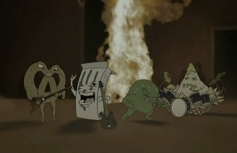 Who plays the pretzel, candy box, gumdrop and a nacho chips in Aqua Teen movie?