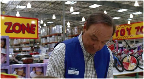 When Locke's mother approaches him at his toy store job, she asks where the footballs are. Locke says regulation in aisle ___ and nerf in aisle ___. What aisles were they?