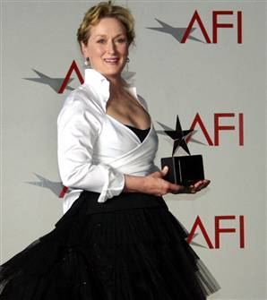 In which year did Meryl receive the AFI's Life Achievement Award?