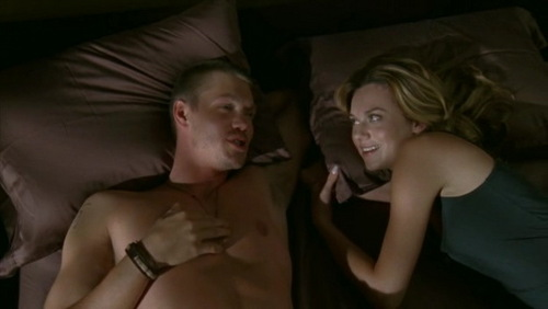 Peyton: Well here is the good news. If te have to sleep on the floor, I'll sleep there with you. Lucas: For the rest of your life? Peyton: ___________