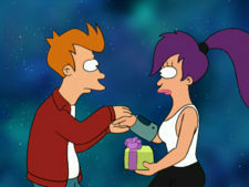 Where did Fry hide his gift for Leela in 'The Sting'?