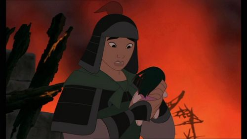 The scene where Mulan picks up the doll off the ground is a tribute to WHICH Mayazaki film?