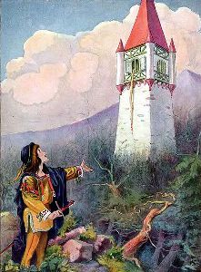 What was the name of the enchantress who imprisons Rapunzel in the tower?