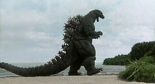 What three dinosaures are part of Godzilla's iconic design?