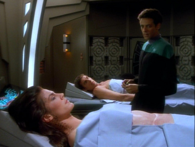 NAME THE EPISODE: An unjoined Trill stages a takeover of the station and removes the Dax symbiont from Jadzia to implant into himself.