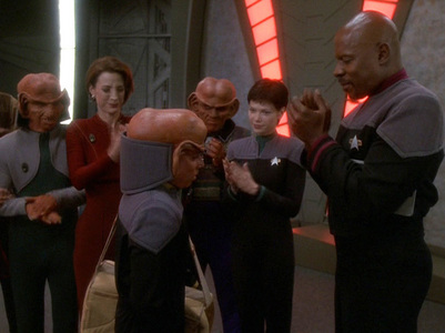 NAME THE EPISODE: Nog returns to DS9 after losing his leg in battle and takes his medical leave in the Holosuite world of 1962.