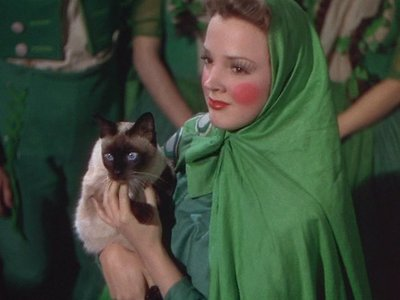 In this scene you can see a woman holding a cat,In which other scene can she also be seen in?