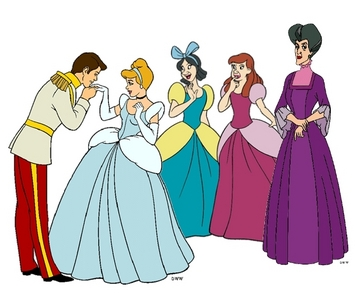 Based on the characters' outfits, what time period best places Cinderella?