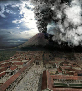 What two famous cities were completely wiped from the face of the earth in 79 AD from a volcanic eruption?