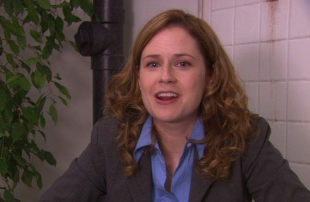 FROM 'HEAVY COMPETITION': In the cold open, how many cheese puffs does Pam catch in her mouth?