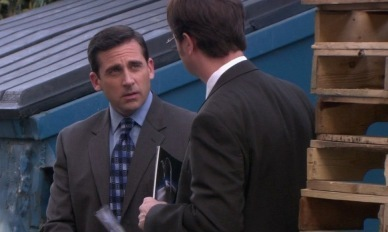 FROM 'HEAVY COMPETITION': How much does Michael try to slip Dwight for giving him client information?