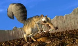 NAME THE SHORT: Features the saber-toothed squirrel Scrat from 'Ice Age'.