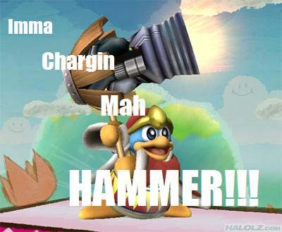 What happens when king Dedede charges his hammer for too long?