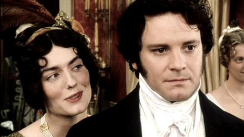 FROM THE 1995 MINISERIES: What is Miss Bingley saying to Mr. Darcy?