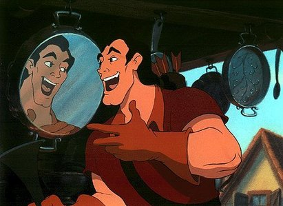 THE BEAUTY AND THE BEAST : Gaston: Were you in love with her, Beast? Did you honestly think she'd want you when she had ___________?