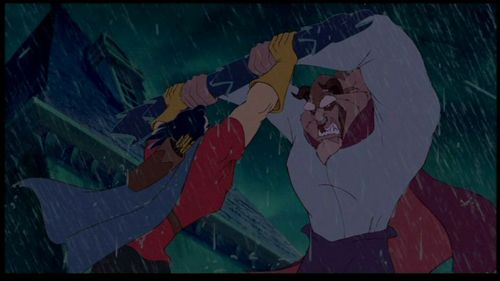 What does the Beast say to Gaston during the rooftop fight?