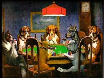 Which painter is responsible for the famed 'Dogs Playing Poker'?