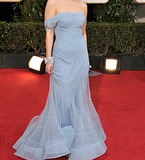 FASHIONS: Which blonde bombshell wore this Dior fashion to the Golden Globes?