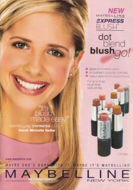 True or False: Sarah Michelle Gellar was the first celebrity since the 1970s to become a Maybelline spokesperson