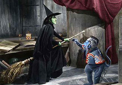 What colour was sand in the hora glass that the wicked witch set up?