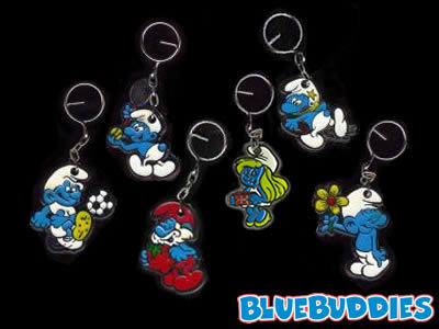 What Character from the smurfs is missing from this keyring?