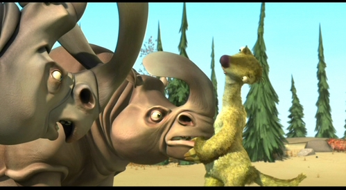"What ""tasty treat"" does Sid try to get the rhinos to eat after he ruins their salad?"