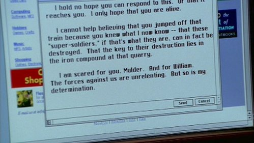 What episode did Scully write this যন্ত্রপত্র to Mulder?