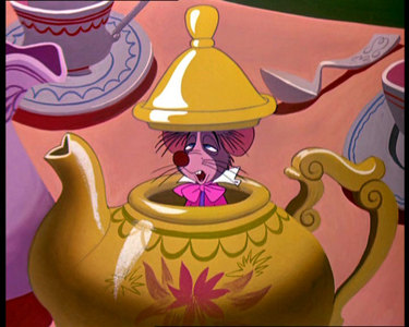 At the Tea Party,Mad Hatter and March Hare,are chasing Dormouse at some point and they need Alice to put what under his nose??