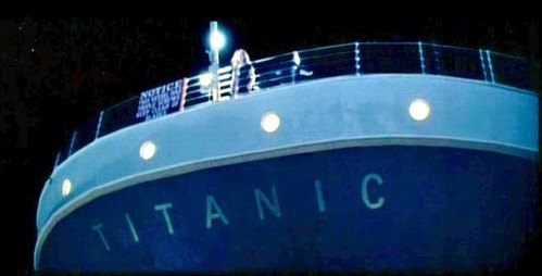 What's written under the name 'TITANIC'?