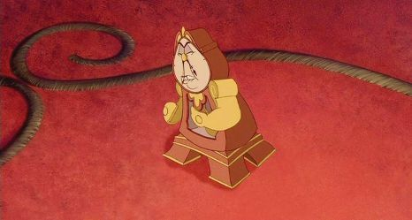 """When Cogsworth says """"I'm not seeing this, I'm not seeing this!"""", what is he referring to?"""