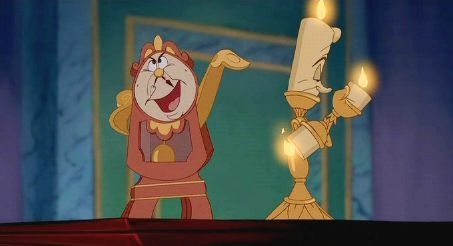 What is NOT a name that Cogsworth flings at Lumiere just seconds before he realizes Belle is in the castle?