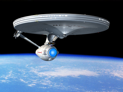 "In Gene Roddenberry's original treatment for ""Star Trek,"" what was the name of the Starship?"