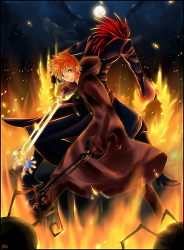 Who is the red hair guy behold Roxas?