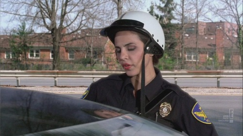 "In ""Fast as she can"", the female police officer pulled Barney over and told him she knew thaat he had been pulled over how many times times in 3 days?"