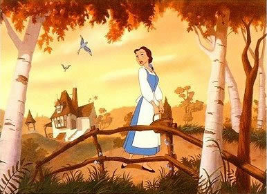 "Belle is seen as ""odd"" by the other townsfolk because of her love for ?"