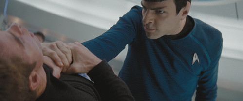 What does Kirk say to Spock that immediately sets him off?