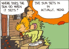 According to Calvin's dad, where does the sun go when it sets?