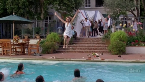 At Kitty and Robert's engagement party, who was the first person to jump into the pool?